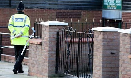 A policeman outside Shrewsbury House Youth Club, Everton, where a 16 year-old boy died after being stabbed outside the  youth club