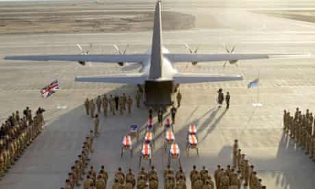 The coffins of the personnel killed in the Hercules crash in Iraq