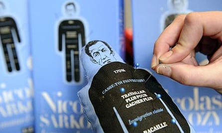A voodoo puppet in the image of French president Nicolas Sarkozy