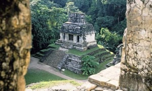The Mayan ruins of Palenque and the Temple of the Sun in Chiapas, Mexico