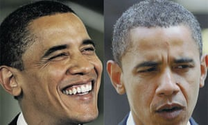 Barack Obama in May this year and two months later. Photographs
