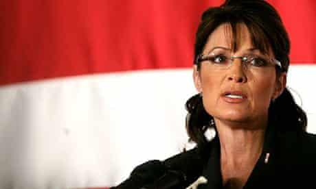 Sarah Palin speaks at Xunlight Corporation in Toledo, Ohio. Photograph: Madalyn Ruggiero/AP