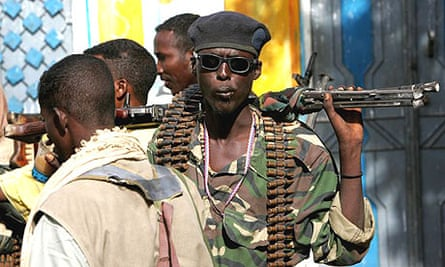A member of the Islamic Courts Union militia patrols in the Somali city Balad