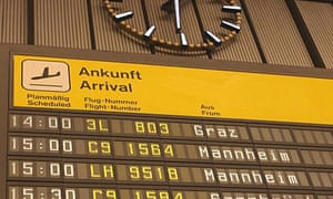 The arrivals board at Berlin Tempelhof, the city's Nazi-era airport which was has been decommissioned