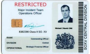 The fake ID card used by Michael Newitt, who was jailed for two years at Leicester Crown Court after conning police into thinking he was a James Bond-style secret agent. Photograph: Leicester Police/PA