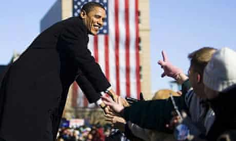 Barack Obama is greeted by supporters in Springfield, Illinois in February 2007 as he formally announces that he running for president