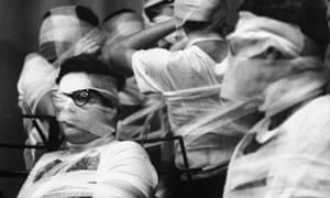 Bandaged Orchestra during the Fluxus Festival arranged by Yoko Ono at Carnegie Recital Hall in 1965