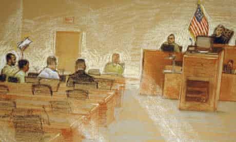 Ali Hamza al-Bahlul (far left) on trial in Guantanamo Bay, Cuba