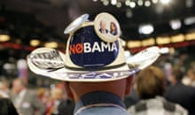 Barack Obama analysis: Delegate Kelly Williams wears a hat showing his dislike for Barack Obama
