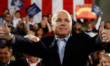 John McCain addresses a campaign rally in Prescott, Arizona