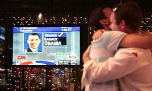 People celebrate the victory of US presidential candidate Barack Obama in a bar in Moscow