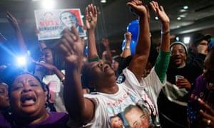 African Americans cheer Barack Obama victory in Selma , Alabama