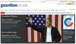 Guardian front announces Barack Obama as president