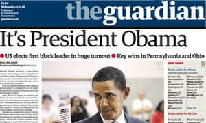 Front page of the Guardian on November 5