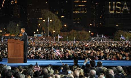 Barack Obama addresses supporters during his election night victory rally at Grant Park in Chicago.