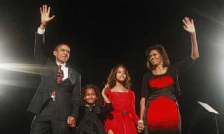 Barack Obama celebrates his election victory with his family