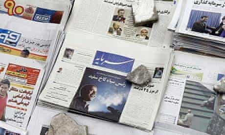 A picture of Barack Obama is seen on the front page of the Iranian reformist Sarmayeh daily with the title 'Black chief in the White House'