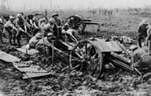 Soldiers try to free a gun from mud on the Western Front