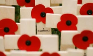 Crosses and poppies in the Field of Remembrance at Westminster abbey, London