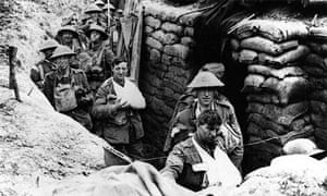 Troops moving around the trenches in the first world war