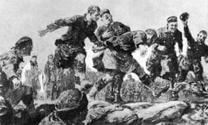 Christmas Truce in the Trenches : Friend and Foe Join in a Hare Hunt'. Drawing by Gilbert Holliday, from a description by an eyewitness rifleman