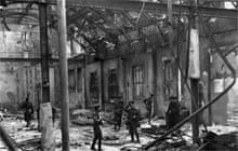 Soldiers inspect the interior of Dublin's General Post Office, viewing the complete destruction of the building after being shelled by the British during the Easter Rising 1916