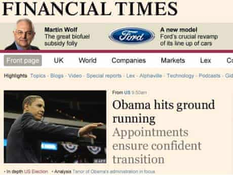 The redesigned Financial Times website