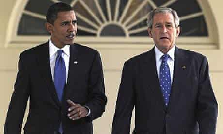 Barack Obama and George Bush at the White House