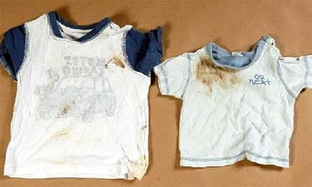 Blood-stained and dirty clothes worn by Baby P