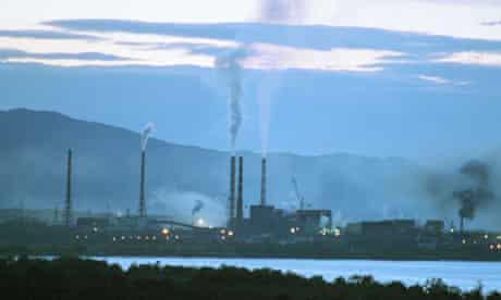 Baikalsk paper mill on Lake Baikal