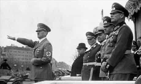 Hitler saluting a military parade