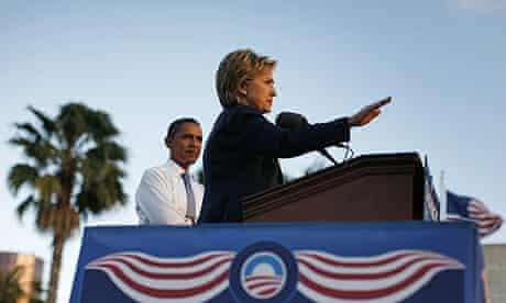 Barack Obama and Hillary Clinton in Orlando, Florida
