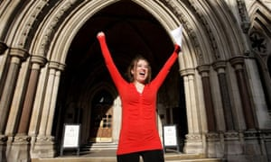Campaigner Georgina Downs celebrates outside the High Court after her victory