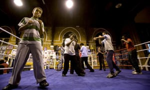 Young boxers during a junior training session for nine- to 14-year-olds at the All Stars Gym in north-west London