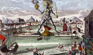 The Colossus of Rhodes, an 18th century engraving by George Balthasar Probst