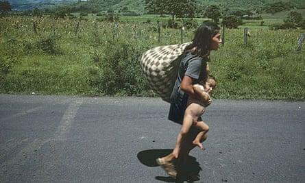 Susan Meiselas's 1978 image of woman fleeing fighting between the Nicaraguan military and Sandinesta rebels around the town of Esteli