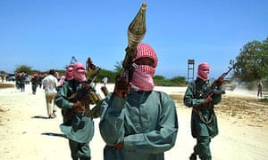 Islamist fighters from the al-Shabab movement taking part in a military drill at a camp in the northern outskirts of Mogadishu