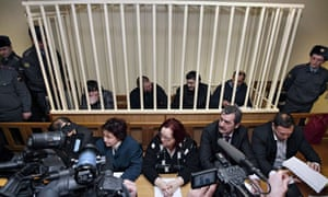 Defendants in the dock during the first session of the Anna Politkovskaya trial in Russia