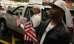 General Motors employees at a rally in support of the US automotive industry