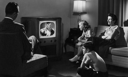 A family watching TV