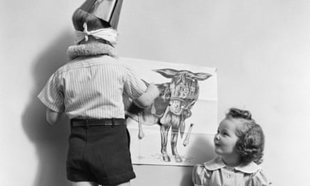 Children pinning the tail on the donkey