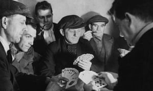 Miners playing cards