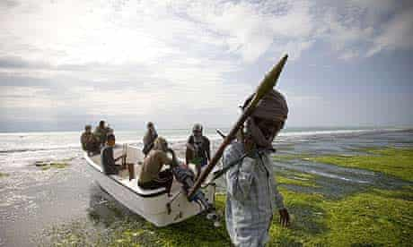 Somali pirate cheif Abdul Hassan and his crew