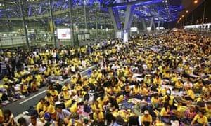 Anti-government protesters at Bangkok airport, Thailand