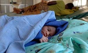 Baby Apeco, 12 hours old, at Tiriri health centre, Katine, Uganda