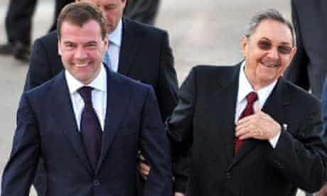 Raul Castro and Dmitry Medvedev