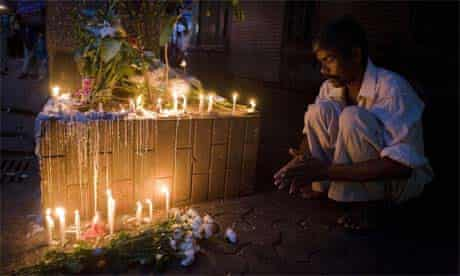Remembering the dead outside Cafe Leopold in Mumbai