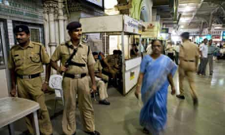 Security officers at the main railway station in Mumbai