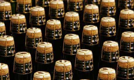 Bottles of sparkling white wine
