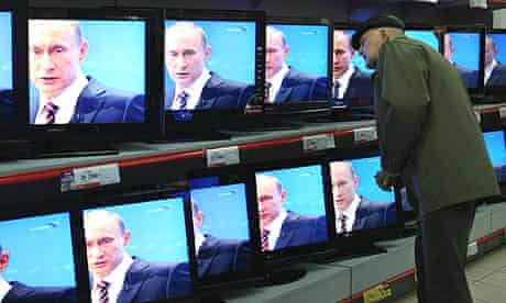 The Russian prime minister, Vladimir Putin answers his annual televised phone-in